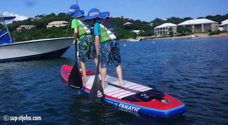 These boys had great fun doing a tandem paddle